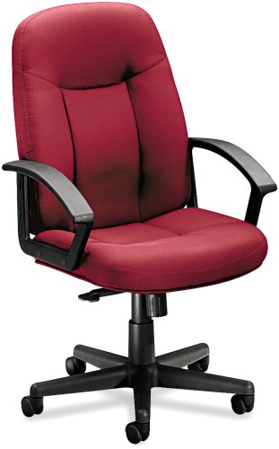 HON VL600 Series Mid-back Chair with Loop Arms for Office or Computer Desk, Burgundy