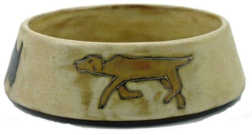 Mara Stoneware Collection - 16 Oz. Pet Feeding Or Water Dish Brown Bowl - Abstract Puppy Dog Design front-205319