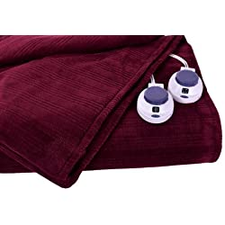 Soft Heat Ultra Micro-Plush Low-Voltage Electric Heated Triple-Rib Queen Size Blanket, Garnet Red by SoftHeat