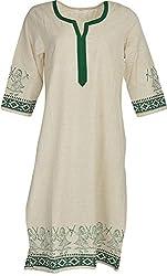 Artisan Women's Cotton Straight Kurta (CZF10009_L, White & Green, L)