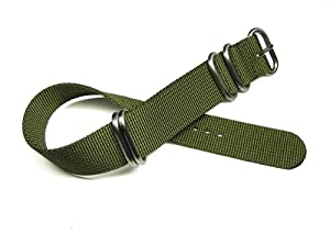 22mm Zulu 4 Ring Military Green Nylon Watch Band Strap