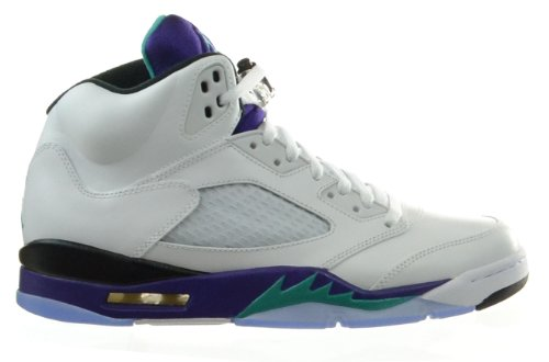 outlet store c1f11 69601 Air Jordan 5 Retro Grapes Men s Basketball Shoes White New Emerald Grape  Ice Black 136027
