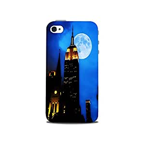 Mikzy Building Effect In Moon Light Printed Designer Back Cover Case for Iphone 4/4S (MultiColour)