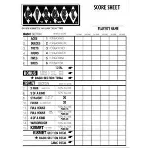 Kismet Dice Game Replacement Scorepads
