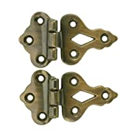 Pair Of Solid Cast Brass 3/8'' Offset Hinges In Antique-By-Hand Finish. Ice Box Hinge.