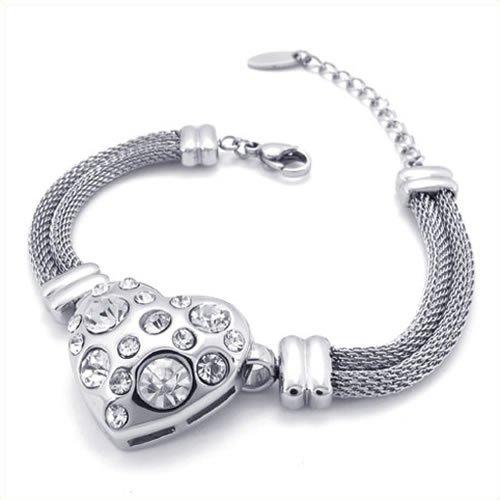 KONOV Jewelry Classic Women's Heart Stainless Steel Bracelet - Silver