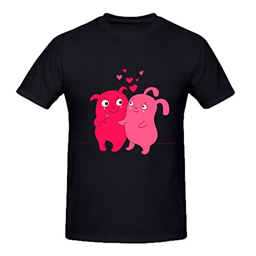 Two UFO Cute Characters with Hearts Couple Graphic T Shirts Men Black Cool (2 Position Creeper compare prices)