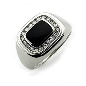 Sterling Silver Men's Ring w/ Onyx (Size 8) Available Size: 8, 8.5, 9, 9.5, 10, 10.5, 11, 11.5, 12, 12.5, 13, 13.5