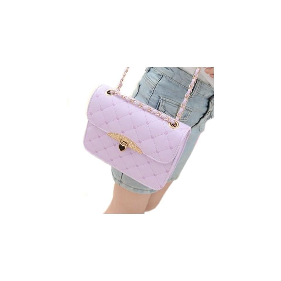 ECOSCO ®Retro Fashion Women Lady Hearts Pattern PU Clutch Hand Bag Purse Faux Leather Bag Shoulder Handbag Purple