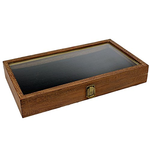 Brown Color Wood Jewelry / Bead Storage Box in TEMPERED Glass Top Lid With Velvet Black Pad Display Box Case Medals Awards Jewelry Knife (Display Case With Lid compare prices)