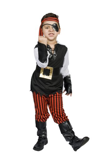 Kids Child Boys Pirate Halloween Costume, Size M 5,6,7,8 Years Old, Ahoy Matey!