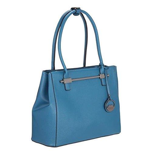 DAVID JONES-Borsa a mano, 27 cm, colore: blu, da donna