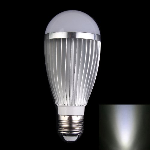 Vktech New Energy-saving E27 7W 85V-265V LED Light Lamp Ball Bulb - Silver 680lm mr16 7w cob warm white led spot bulb energy saving light 85 265v