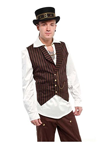 Mens-Steampunk-Style-Black-And-Copper-Brown-Stripe-Sateen-Vest-Sizes-S-2XL
