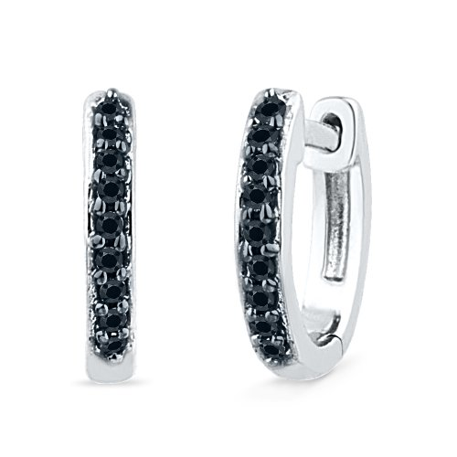 Platinum Plated Sterling Silver Black Round Diamond Hoop Earring (0.08 cttw)