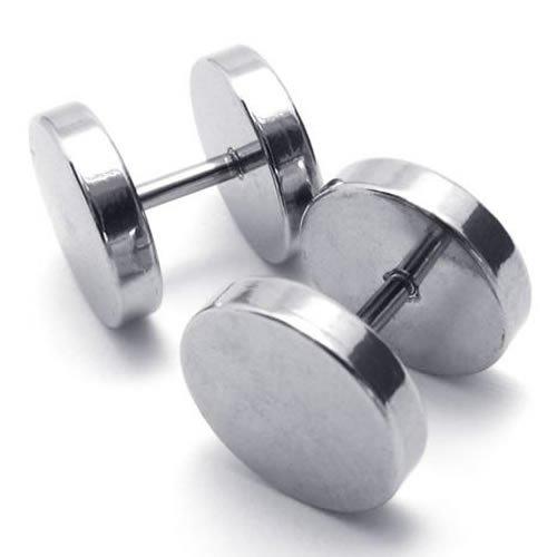 KONOV Jewelry Stainless Steel Men Unisex Round Stud Earrings Set, 2pcs, Color Silver, 10mm
