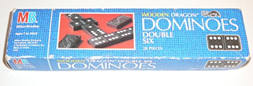 Wooden Dragon Double Six Dominoes Milton Bradley - 1