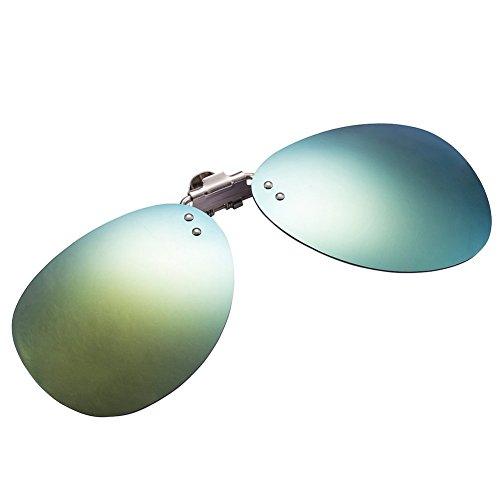 Zheino One-piece Sonnenbrillen-Clip Polarisierende Flip Up AVIATOR Kunststoff ,UV 400 Sonnenbrille Brillen Aufsatz Clipon Clip On's Brille Sonnenbrillen,Sonnenclips,Clips zum Autofahren Gold