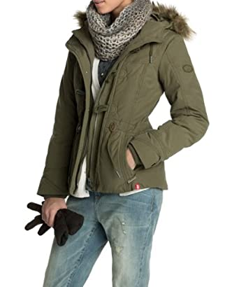 Esprit Women's 103CC1G007 Parka Long sleeve Coat  - Green - Vert (Khaki) - 8 (Brand size:  XS)