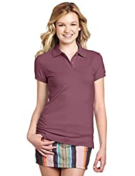 Dickies Girl Juniors Short Sleeve 2 Button Pique Polo,Burgundy,Large