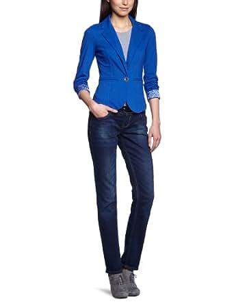 ONLY Damen Blazer 15073208/CHERRY LS BLAZER SWEAT SWT BB, Gr. 40 (L), Blau (MAZARINE BLUE AOP:MAZARINE BLUE AND CLOUD DANCER)