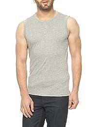 Gritstones Grey Melange Sleeveless Round Neck T-Shirt