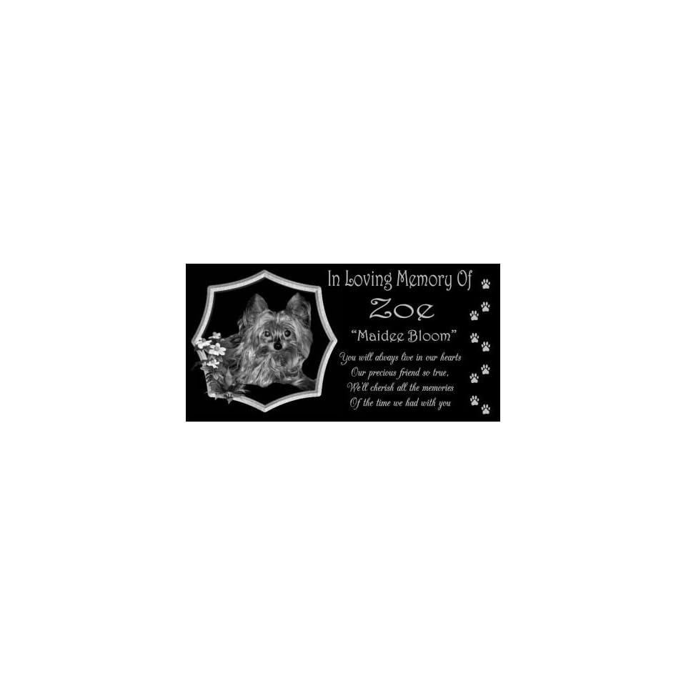 12 x 6 Lazer Gifts Personalized Black Granite Pet Memorial Marker Style Zoe
