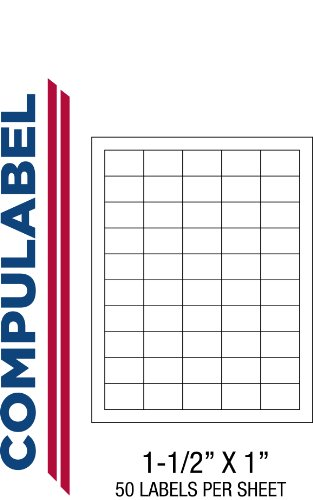 Compulabel White UPC Bar Code Labels for Laser and Inkjet Printers, 1 1/2 x 1 Inch, Permanent Adhesive, 50 per Sheet, 100 Sheets per Carton