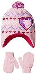 Peppa Pig Toddler Girls Peppa Love Laplander And Mitten Set, Pink, Toddler