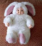 Anne Geddes White Bunny Baby Doll with Brown Eyes 8 Inches