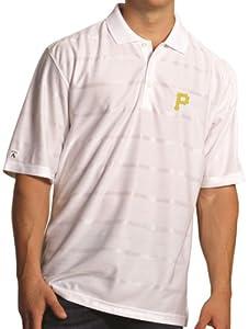 Pittsburgh Pirates Antiqua MLB Tone Performance Polo Shirt - White by Antigua