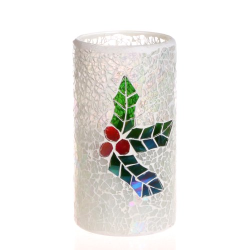 Dfl 3*6 Inch White Mosaic Glass With Plant Pattern Flameless Led Candle With Timer,Work With 2 C Battery