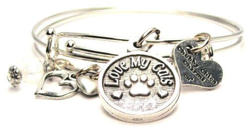 Love My Cats Chubbychicocharms Adjustable Wire Bangle Charm Bracelet Set Of Two Bangles