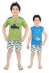 Punkster Cotton Blue T-Shirt And Shorts Combo Set For Boys