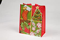 Reusable Christmas Tote Gift Bags; Large Glossy Finish; 12 Pack