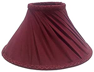"""RDC 10"""" Round Slanting Pleated Maroon with Lace Border Lamp Shade for Table Lamp"""