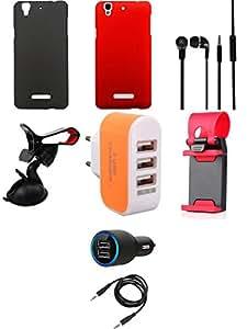 NIROSHA Cover Case Car Charger Headphone Mobile Holder Charger Combo for YU Yureka Combo