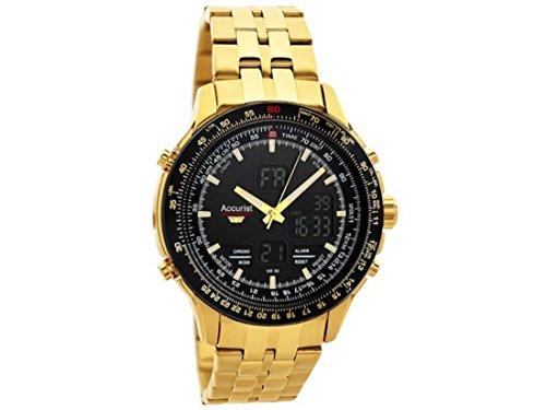Accurist Mens Gents MB1047 Gents Gold Plated Dual Display Bracelet Wrist Watch