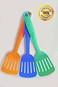 3 Piece Slotted Spatula Turner Set - High Heat Resistant Cooking Utensils in Multiple Cute Colors - for Non-stick Pans or Stainless Steel - Christmas Gift for Cooks