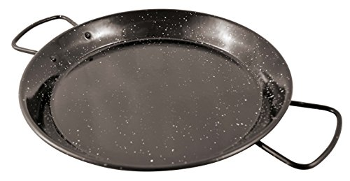 Paderno World Cuisine A4982185 Enamel Paella Pan, 18-1/8-Inch, Black