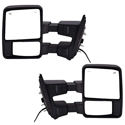 DEDC Pair 08-15 Ford Super Duty F250 F350 F450 Power Heated With Signal Light Towing Mirrors 2008 2009 2010 2011 2012 2013 2014 2015 (2008 Super Duty Mirrors compare prices)