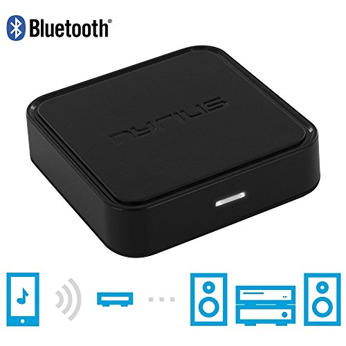 Nyrius Songo Wireless Bluetooth Music Receiver Adapter for Audio Streaming iPhone, iPad, iPod, Samsung, Android, HTC, Smartphones, Tablets, Laptops to Speaker Systems with 3.5mm Auxiliary Input (BR40)