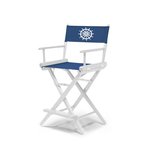 Telescope Casual World Famous Counter Height Director Chair, White Finish With Marine Blue And White Motif Cover