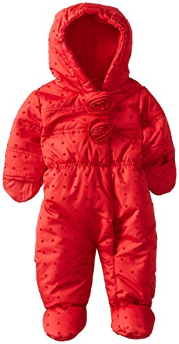 Rothschild Baby Girls Waisted Rosette Footed Puffer Snowsuit With Hood - Red (Size 6/9M)