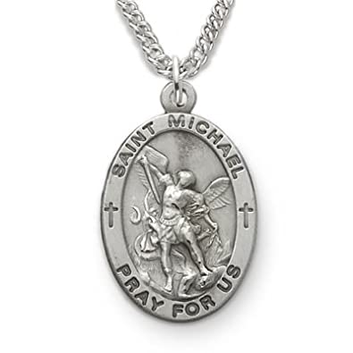 St michael pendant necklace patron saint medal jewelry sterling silver engraved st michael medal aloadofball Images