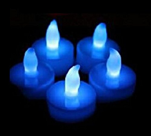 Domire Set Of 12 Blue Led Candles, Flameless Tea Lights For Decoration, Festivals, Weddings With Batteries