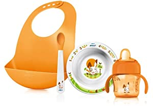 Philips Avent SCF730/00 - Juego de accesorios para bebé (1 cuenco, 1 babero, 1 taza con asas de 200 ml, 1 cuchara, para 6 meses) - BebeHogar.com