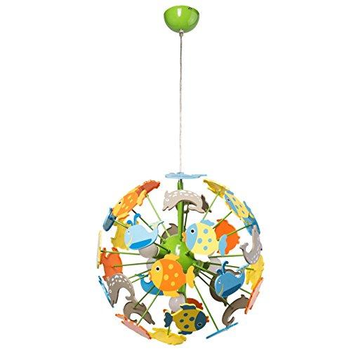 Lampada pendente per bambini con pesciolici plastico metallo multicolore forma di globo Ø46cm 5-bulb exl, E14 5x40W 230V