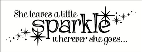 Wall Decor Plus More Wdpm2721 She Leaves A Little Sparkle Wherever She Goes Wall Sticker, 36-Inch X 11-Inch, Black front-83456