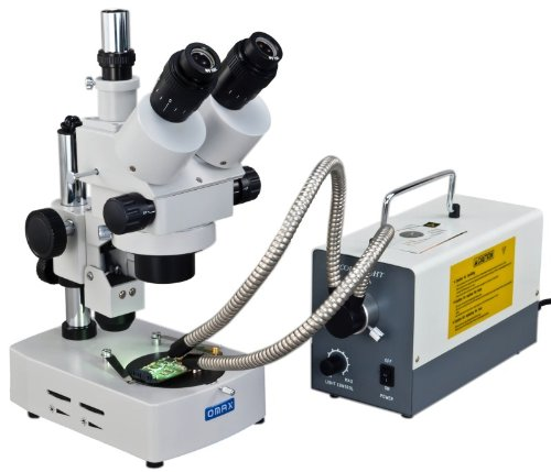 Omax 3.5X-90X Trinocular Table Stand Stereo Microscope With Dual Illumination System And Additional 150W Cold Fiber Y-Type Gosseneck Light